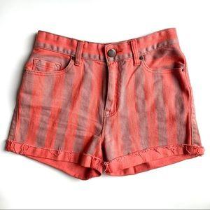 Zara Striped Cuffed Jean Shorts Size 27 High Rise